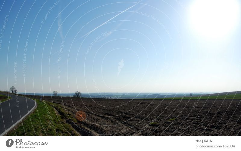Sky Sun Far-off places Street Spring Landscape Field Transport Agriculture Furrow First Vapor trail
