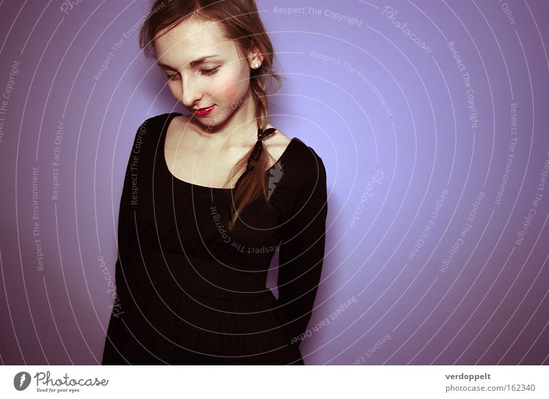 0_18 Woman Beautiful Black Colour Style Fashion Beauty Photography Hair Dress Shame Purple Portrait photograph Little black dress