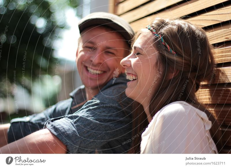 Sure thing. Wedding Couple Partner Life 2 Human being 30 - 45 years Adults Sun Summer Beautiful weather rhombus bar Shirt Cap Brunette Hairband To enjoy