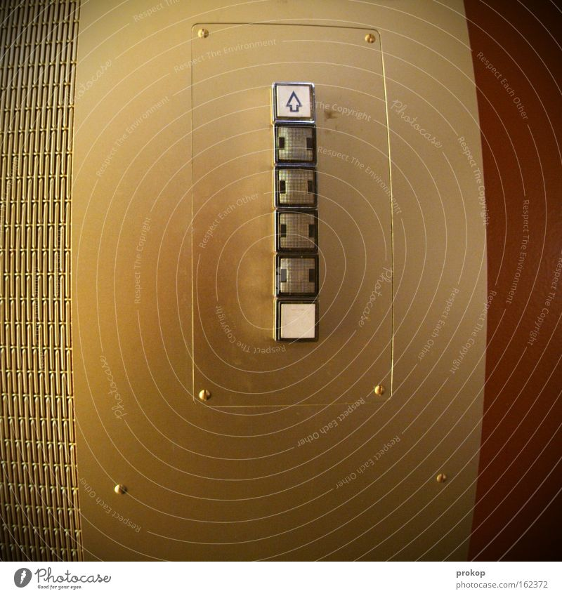 Gold Success Beginning Tall Grief Driving Round Stop Arrow Sign Distress Upward Elevator Downward Buttons Switch