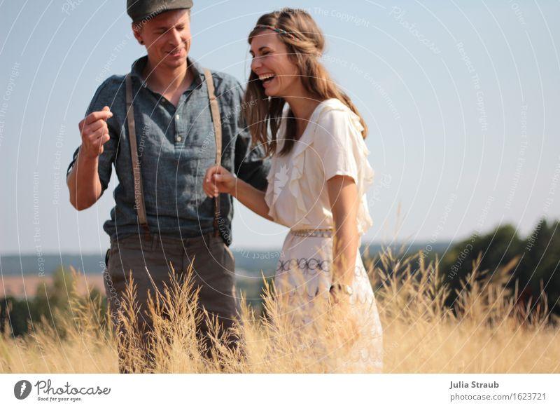 :) Human being Woman Adults Man Couple Partner 2 30 - 45 years Summer Beautiful weather Grass Field Shirt Dress Suspenders Hat Cap Brunette Laughter Joy
