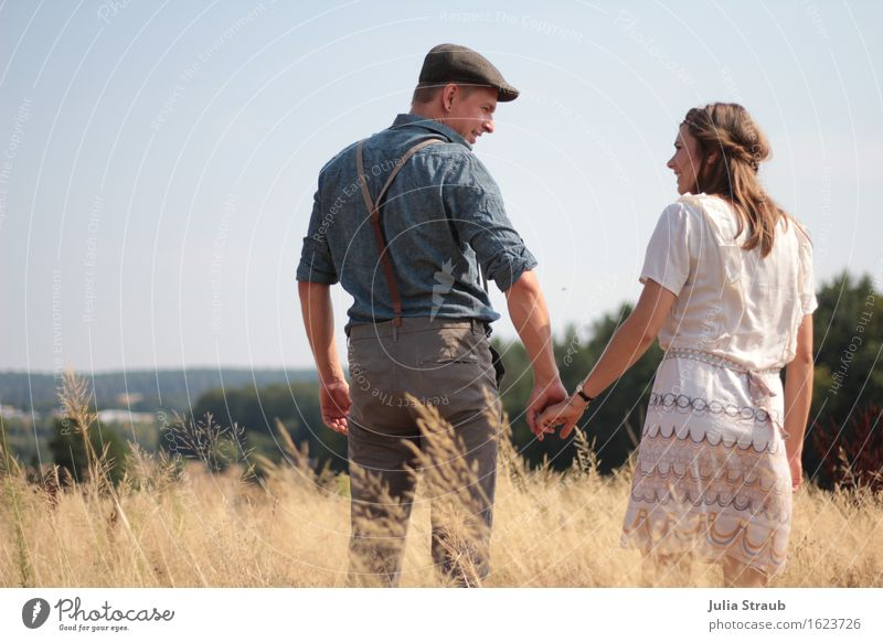 Human being Woman Man Blue Summer Adults Love Autumn Couple Brown Together Field Stand Beautiful weather Dress To hold on
