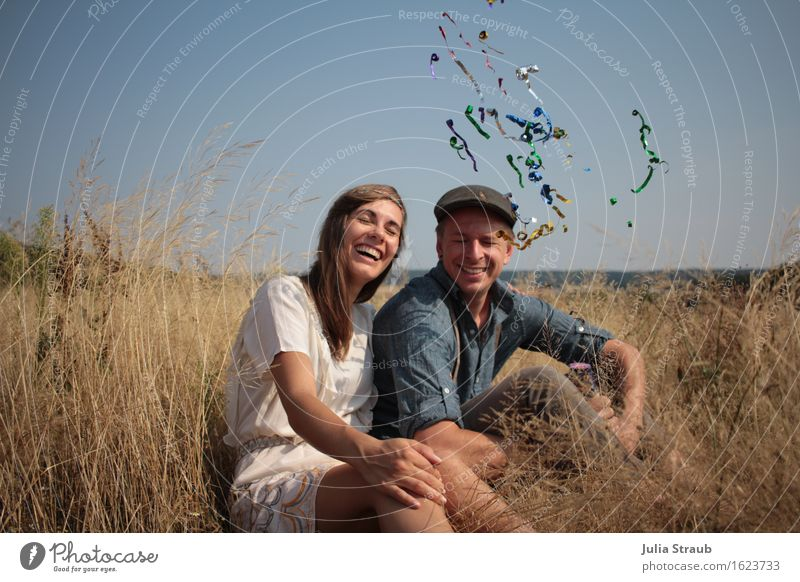 Human being Summer Adults Funny Laughter Couple Field Beautiful weather Dress Cap Hat Brunette Partner Confetti 30 - 45 years
