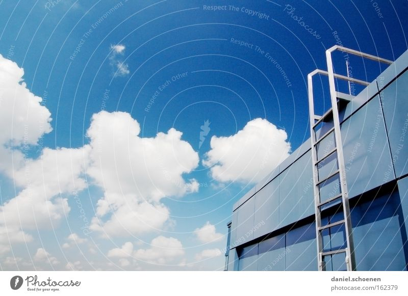 staircase Stairs Ladder Sky Clouds Go up Weather Summer Abstract Blue White Roof Architecture Detail Success Metal