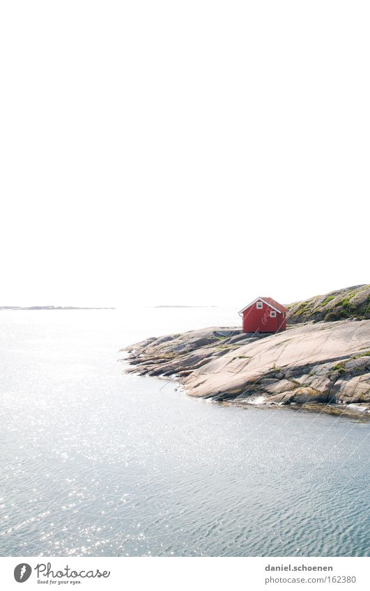 Cottage by the sea House (Residential Structure) Hut Ocean Sweden Scandinavia Sky Weather Summer Wood Red Water Horizon Sun Light Colour Dye Beach Coast