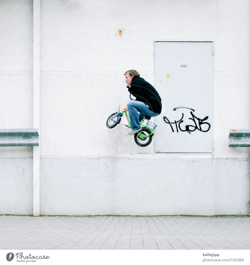 stuntman Bicycle Kiddy bike Jump Crash barrier Edge Flying Aviation Dangerous Risk Crazy White Aerobatics Circus Playing