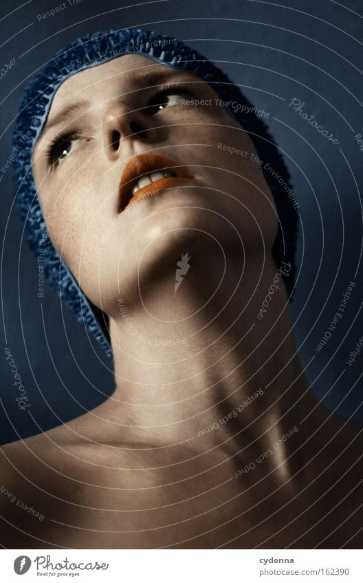 Woman Human being Blue Beautiful Face Playing Movement Elegant Skin Longing Portrait photograph Smooth Vulnerable