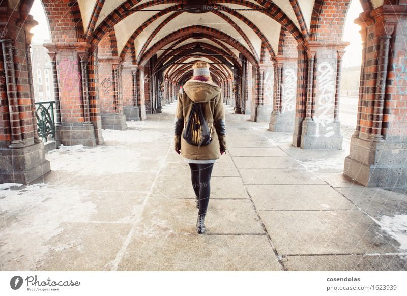 Human being Vacation & Travel Youth (Young adults) Young woman Winter 18 - 30 years Adults Feminine Snow Berlin Lifestyle Going Tourism Fear Authentic Bridge