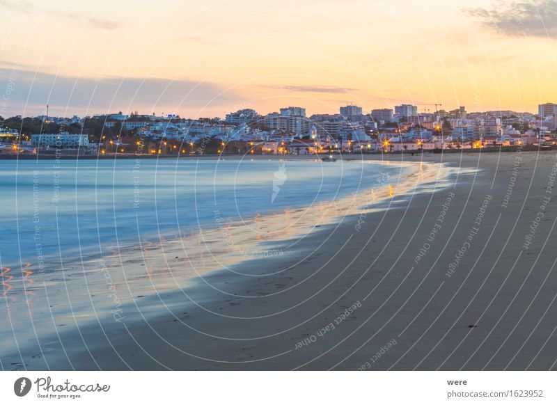 Evening at the beach Vacation & Travel Tourism Beach Ocean Waves Sand Water Coast Places Wet Algarve Surf Feless Coast Rocky coastline Vacation home Geography