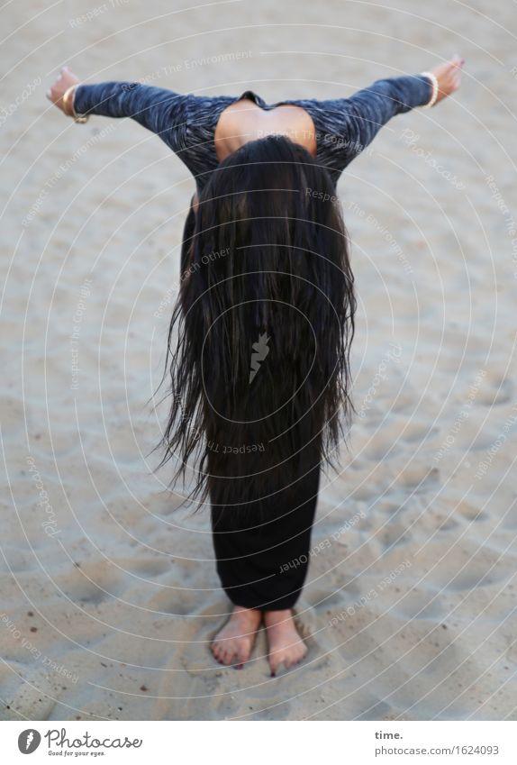 Human being Beautiful Joy Beach Life Movement Feminine Sports Sand Stand Perspective Uniqueness Joie de vivre (Vitality) Change T-shirt Desert