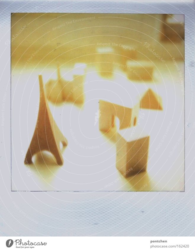 Wooden figurines. Eiffel Tower, houses. Play Polaroid Sunlight Sunbeam Back-light Playing Model-making Children's game Sightseeing City trip Flat (apartment)