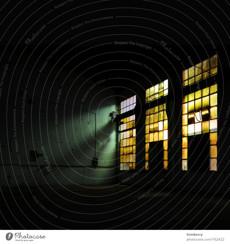 Black Loneliness Yellow Dark Window Wall (building) Deserted Style Building Wall (barrier) Art Glass Fear Dirty Interior design Design