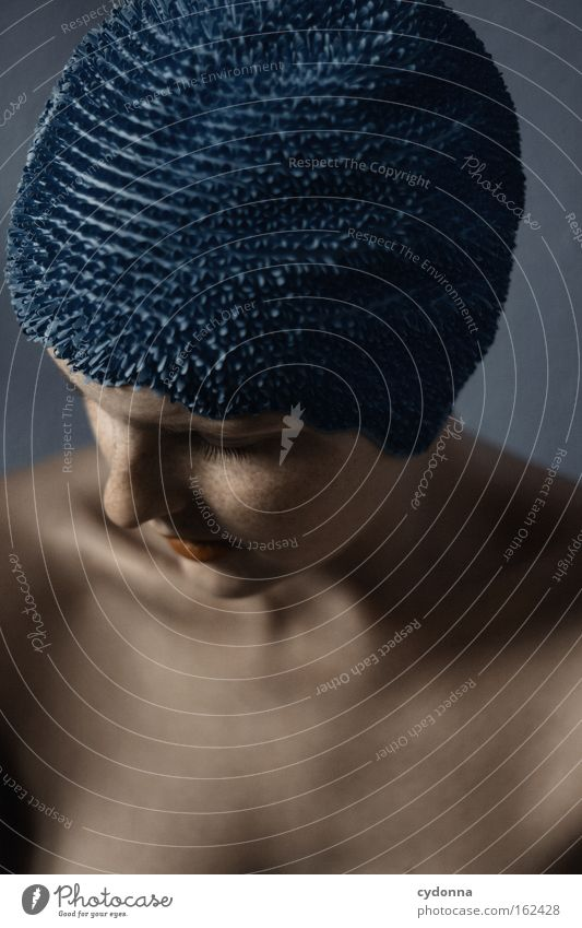Woman Human being Blue Beautiful Face Playing Movement Elegant Skin Thought Smooth Feeble Vulnerable