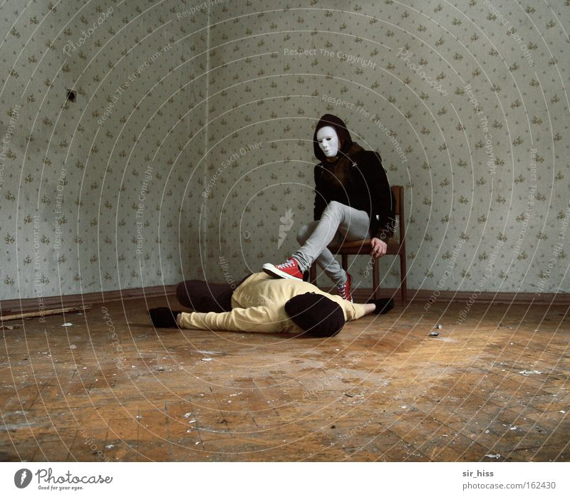 Human being Old Death Lie Fear Sit Dangerous Might Safety To fall Derelict End Mask Fear of death Destruction Downward