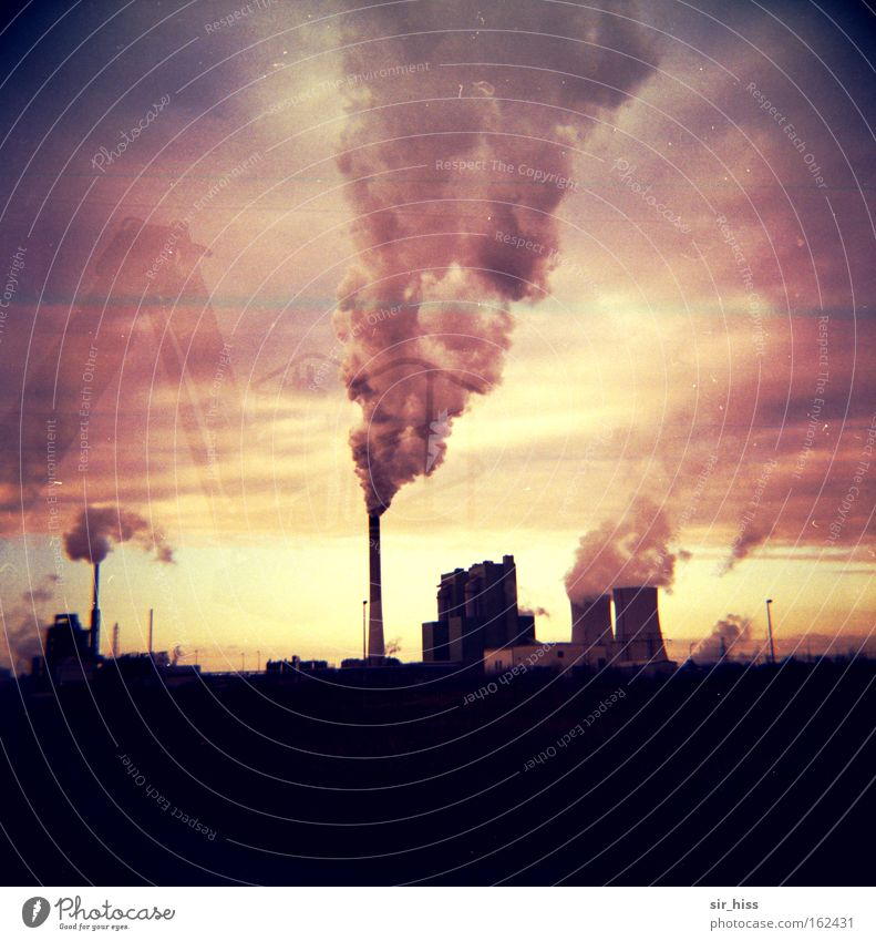 Wind from southeast Lomography Industry Smog Chimney Leuna Clouds Cooling tower Smoke Exhaust gas BUNA schkopau