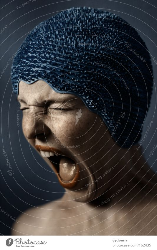 discontinuity Face Portrait photograph Human being Woman Blue Pain Vulnerable Anger Movement Power Skin Scream Emotions Force swimming hood