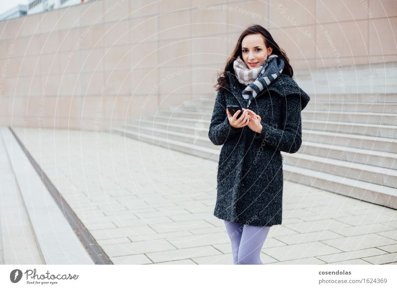 Human being Youth (Young adults) City Beautiful Young woman Joy Winter 18 - 30 years Adults Wall (building) Feminine Lifestyle Wall (barrier) Laughter Happy Facade
