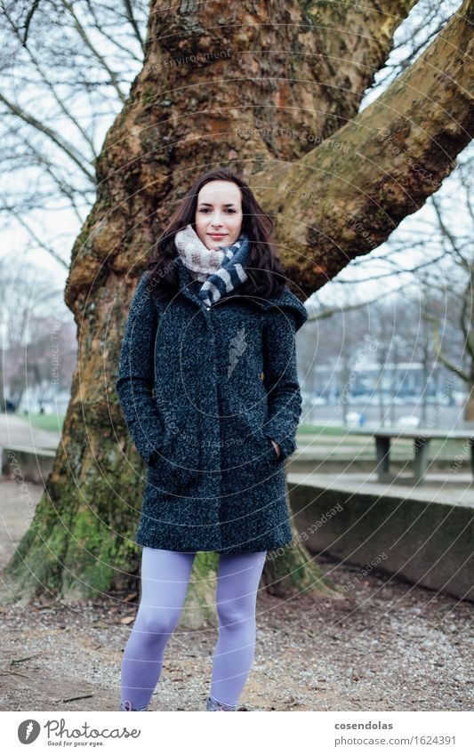 winter portrait University & College student Feminine Young woman Youth (Young adults) 1 Human being 18 - 30 years Adults Tree Park Jacket Coat Brunette