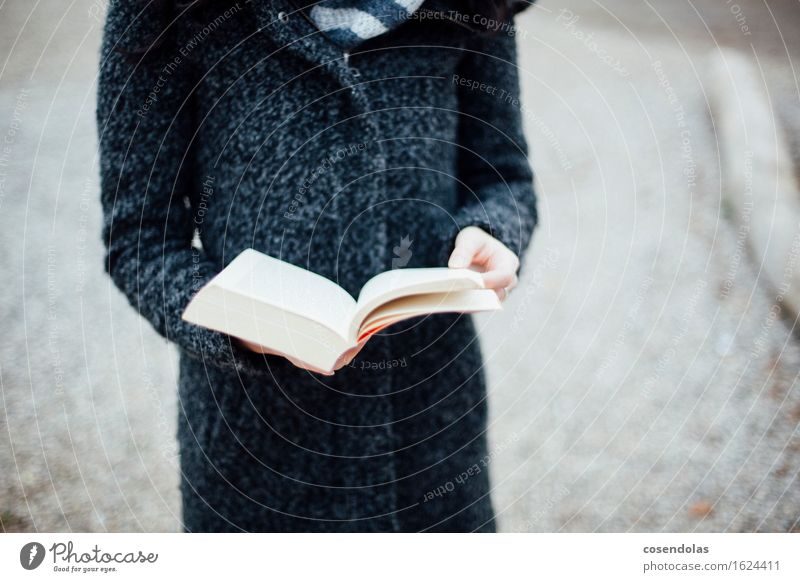 Human being Woman Youth (Young adults) Young woman Winter 18 - 30 years Black Adults Gray Elegant Study Book Academic studies Reading Education Adult Education