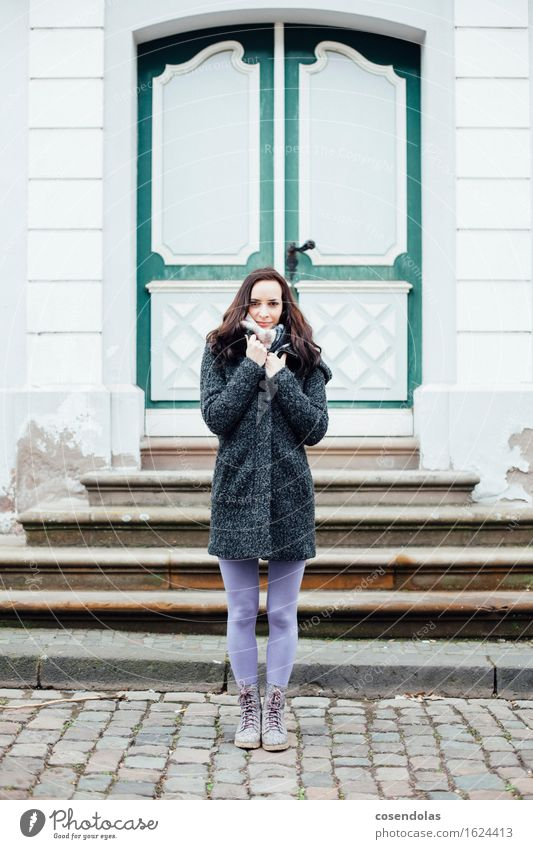 Young woman is cold Sightseeing Winter House (Residential Structure) University & College student Feminine Youth (Young adults) Woman Adults 1 Human being
