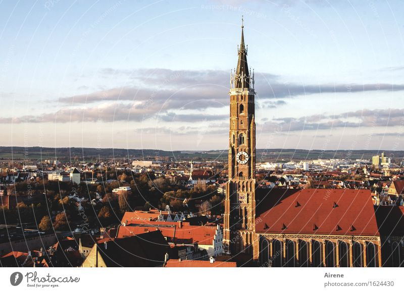 symbolic Landshut Bavaria Town Capital city Downtown Old town Church Architecture Church spire Sign Tower Historic Tall Above Point Red Arrogant Pride