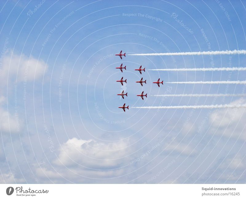 Red Arrows England Clouds Airplane Formation Air show Photographic technology Sky