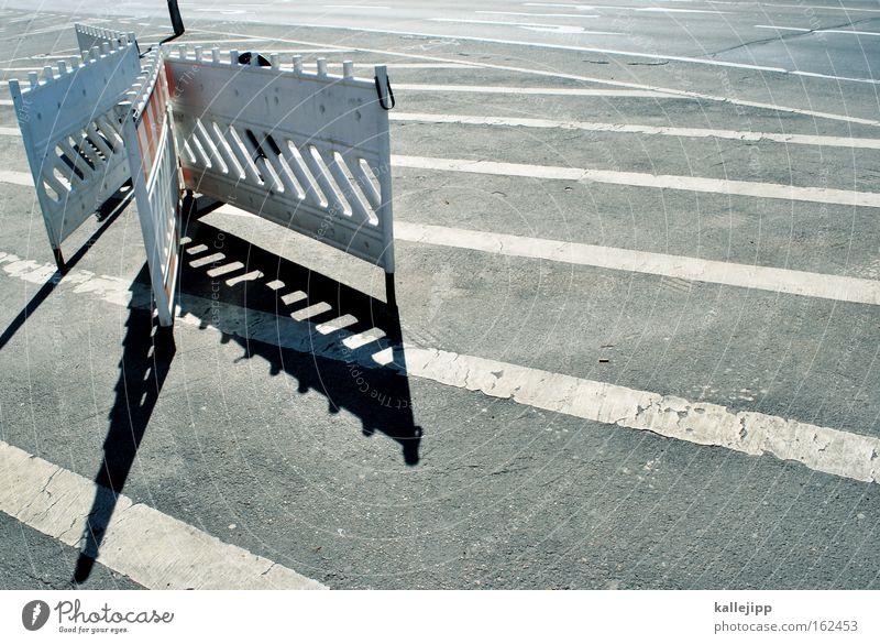 White Black Street Road traffic Target Construction site Tracks Stripe Barrier Bans Navigation Crossroads Grating Road junction Rule Street sign