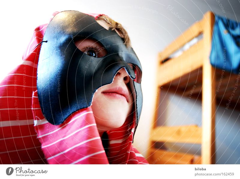 Child White Blue Red Face Black Playing Dangerous Mask Carnival Mysterious Infancy Hero Fantasy literature Concealed