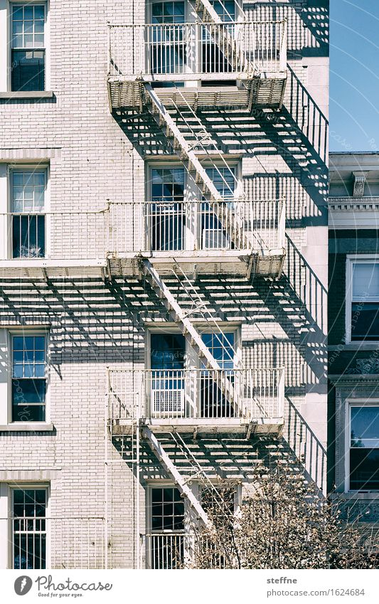 fire escape Town Fire ladder Blaze Safety Shadow New York City Colour photo Exterior shot