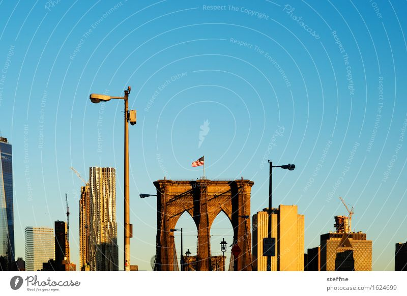 New York City Sunrise Sunset Autumn Beautiful weather Town Brooklyn Bridge Skyline Manhattan Lantern Morning Colour photo Exterior shot Copy Space top