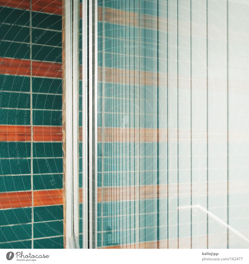 house Glass Window pane Slice Reflection Abstract Green Orange Disk Slat blinds Lamella Neighbor Tile Room Exterior shot Interior shot