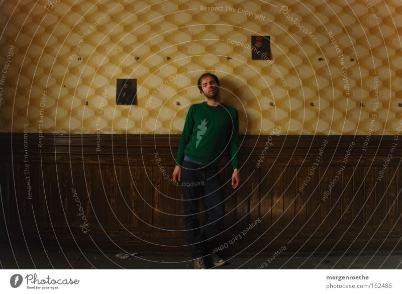 Human being Loneliness Yellow Wood Brown Room Image Derelict Wallpaper Ruin Well-being Self portrait Brewery