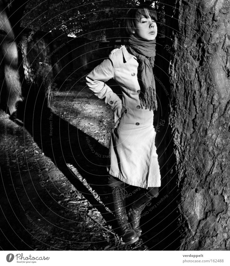 1_1 Portrait photograph Sunlight Shadow Light Light (Natural Phenomenon) Black & white photo Be confident Be quiet! Tree Woman Style Styling Fashion Serene