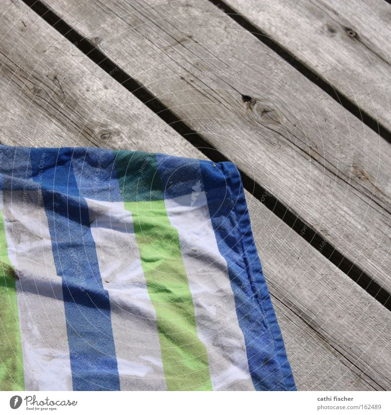 cloth on bridge Rag Footbridge Striped Green Blue White Wood Wet Wrinkles Cloth Kitchen Wooden board Water Summer Decoration Household Swimming pool