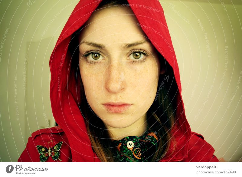1_2 Portrait photograph Face Freckles Eyes Red Hooded (clothing) Balaclava Butterfly Style Colour Luminosity Lighting Woman Human being Mammal look glance