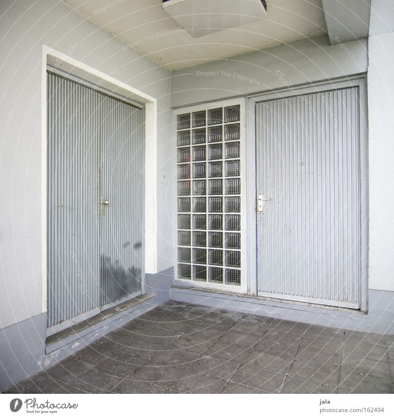 White House (Residential Structure) Emotions Gray Building Door Concrete Closed Corner Gloomy Living or residing Entrance Decide Selection Glass block
