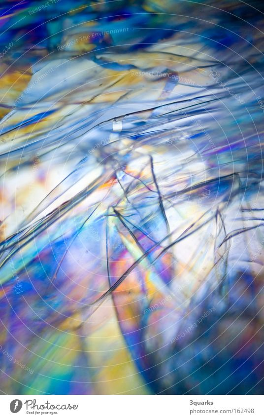 plastic film Packing film Light Abstract Structures and shapes Photomicrograph Prismatic colour Multicoloured Colour polarized Statue psychedelic Plastic