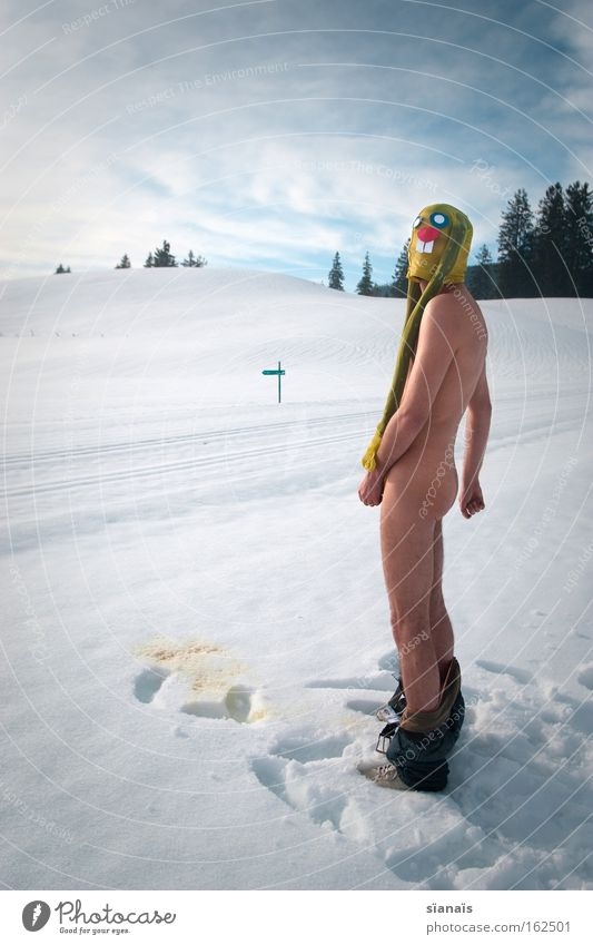 bunny pee Easter Easter Bunny Mask Dress up Hare & Rabbit & Bunny Tights Surrealism Comic Funny Urinate Urine Crazy Snow Alps Swiss Alps Naked Obscure Excretion