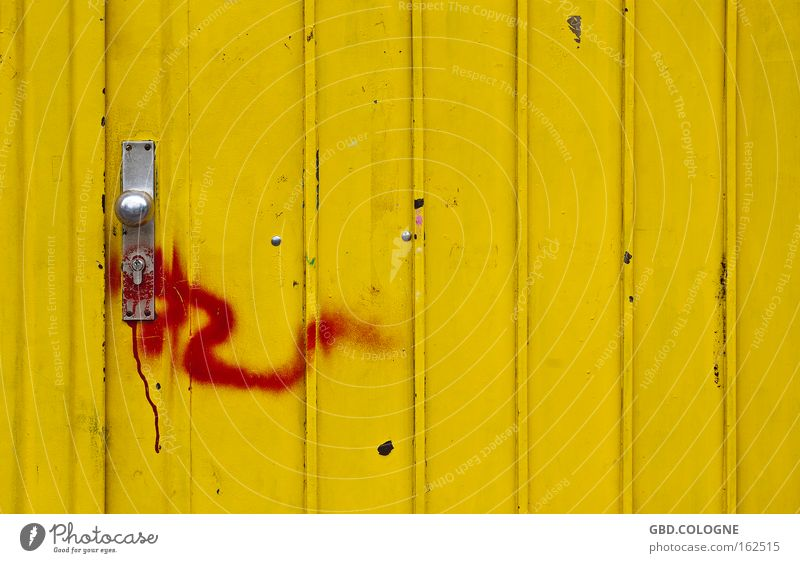 #FDDF00 Yellow Door Metal Structures and shapes Red Door handle Closed Entrance Colour