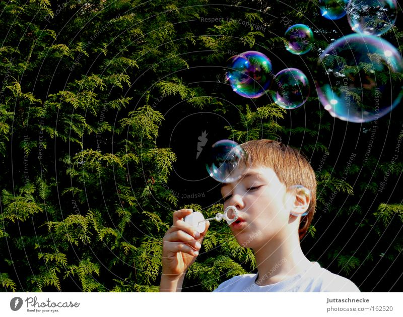 Child Beautiful Joy Boy (child) Playing Dream Glittering Peace Toys Infancy Bubble Blow Soap bubble Bursting Human being