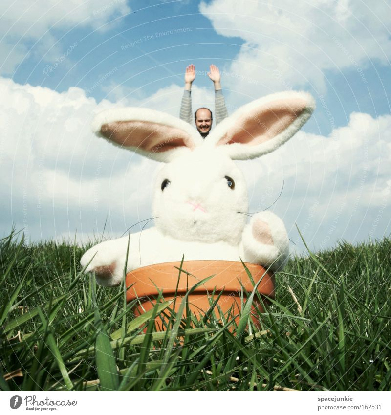 Easter Bunny comes around Hare & Rabbit & Bunny Public Holiday Flowerpot Pot Meadow Grass Animal Cuddly toy Man Jump Flying Joy