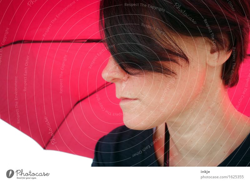 shade Lifestyle Style Leisure and hobbies Woman Adults Face 1 Human being Umbrellas & Shades Sunshade Pink Red Only one woman Strand of hair Colour photo