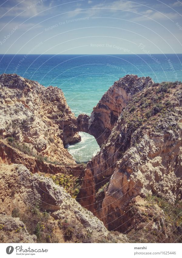 Algarve Nature Landscape Elements Water Sky Sun Summer Climate Beautiful weather Coast Beach Ocean Moody Portugal Rock Lagos Vantage point Far-off places Waves