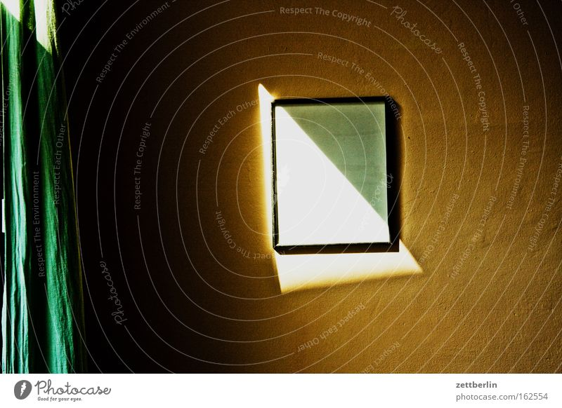 solar incidence Room Wall (building) Image Picture frame Empty Expressionless Sun Shadow Summer Triangle Curtain Living or residing