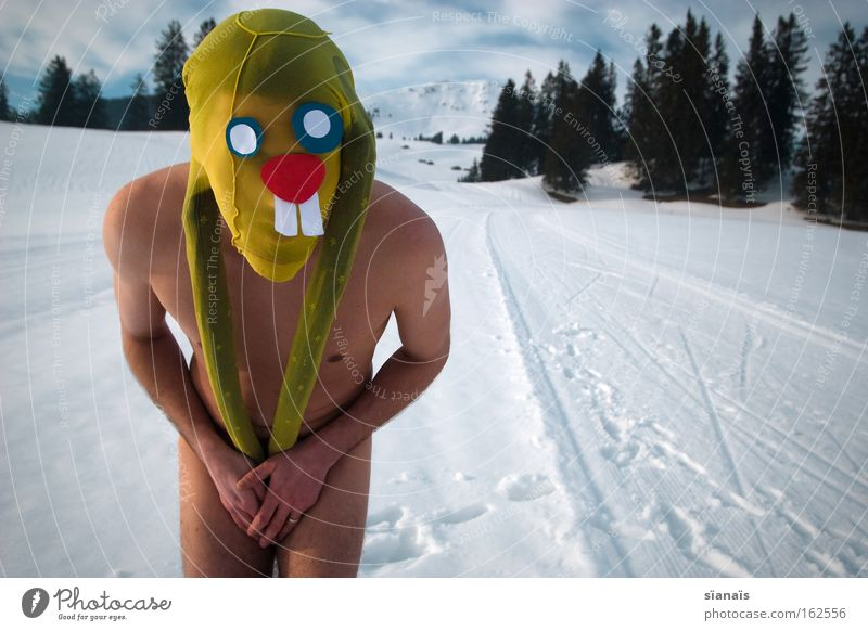 hide eggs Easter Easter Bunny Mask Dress up Hare & Rabbit & Bunny Tights Surrealism Comic Funny Crazy Snow Swiss Alps Naked Timidity Hide Mammal