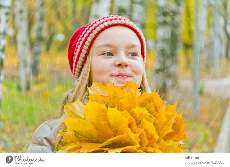 Cute smiling girl in autumn Summer Child Schoolchild Girl Woman Adults Infancy 1 Human being 3 - 8 years 8 - 13 years Autumn Blonde Blue White kid five six 7