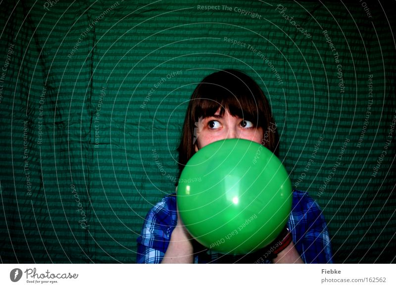 Woman Youth (Young adults) Green Joy Adults Feasts & Celebrations Fear Balloon Carnival Fear of death Stage play Panic False Portrait photograph Deception