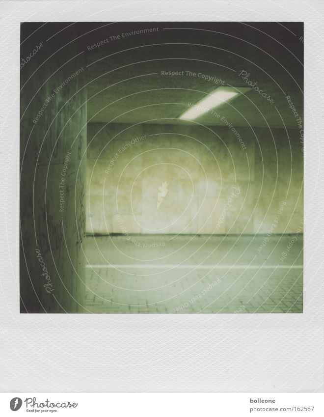 Green Dark Wall (building) Wall (barrier) Fear Dangerous Threat Tunnel Polaroid Panic Neon light Underpass Hofgarten
