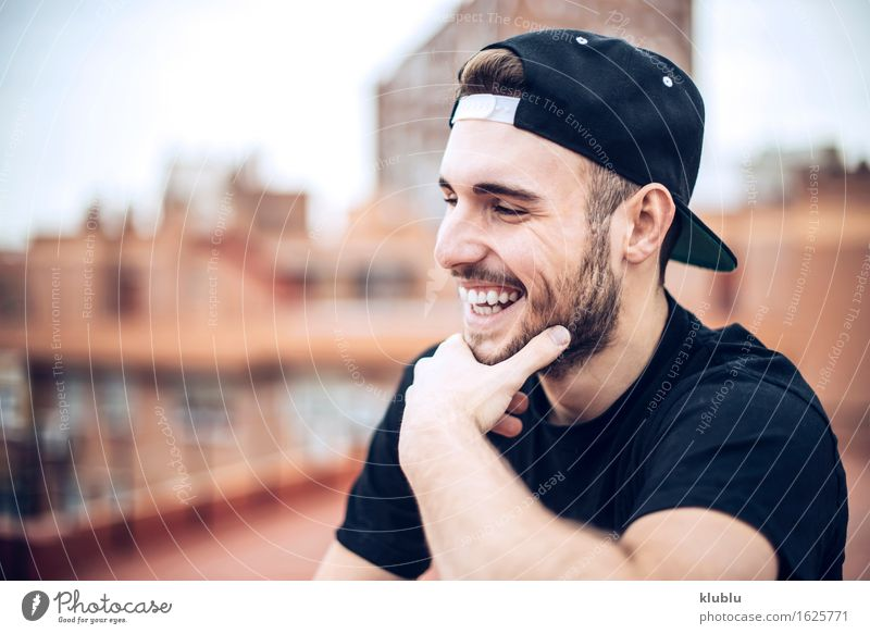 Handsome caucasian young man Man City Beautiful White Face Adults Environment Style Lifestyle Happy Leisure and hobbies Copy Space Modern Creativity Smiling
