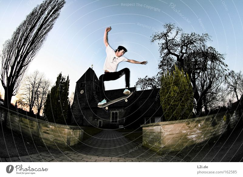 Tree Jump Wall (barrier) Lanes & trails Action Electricity Aviation Target Leisure and hobbies Skateboarding Energy House of worship Fisheye Extreme sports